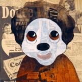 Kiki-acrylique-sur-collage-journaux-sur-bois